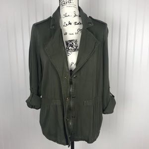 Mossimo Army Green Snap/Zip Convertible Jacket